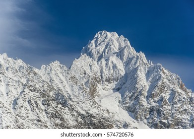 snow covered peak of the Mont Blanc massif , Upper Savoy, France