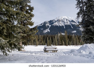 Snow covered picnic table at a rest stop in Kootenay National Park, British Columbia Canada in winter.