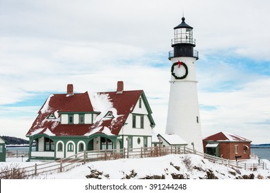 Snow covered Portland Head Lighthouse in Maine