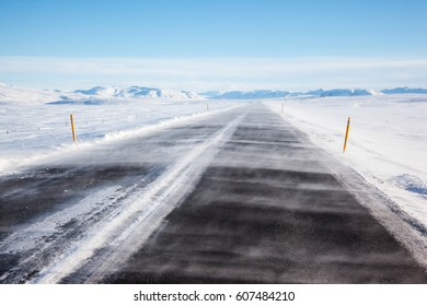Snow covered the road in iceland