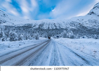 Snow covered road Norway winter
