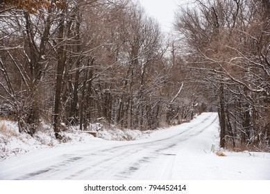 Snow covered road in Springfield, Missouri