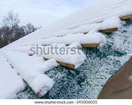 Snow covered roof on building site