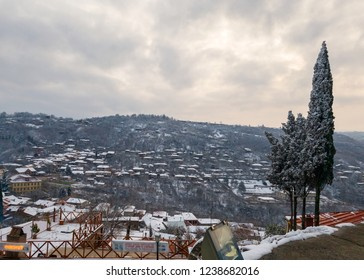 Snow covered Sighnani city view from hilltop