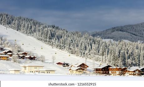 Snow covered ski piste in the European Alps. Flachau, Austria