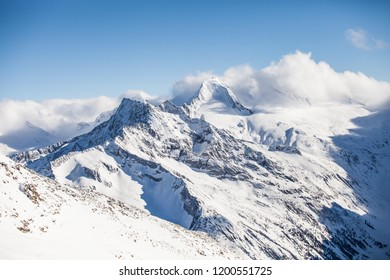The snow covered slopes of the mountains of the famous ski resort in Europe, the Zillertal Valley in Austria