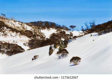 Snow covered slopes of SNowy mountains surrounding Perisher valley during winter season in popular skiing and snowboarding resort, good for cross-country too.