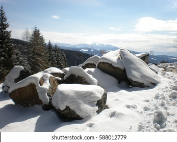 Snow covered stones in the Lavanttal Valley in Carinthia, Austria