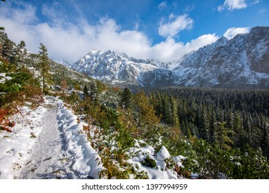 snow covered tourist trails for hiking in slovakia tatra mountains. sunny winter day with clouds and blue sky