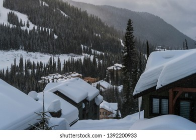 Snow covered trees and lodges in Sun Peaks, Kamloops, British Columbia, Canada