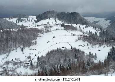 Snow covered trees in the mountains. Beautiful winter landscape. Winter forest