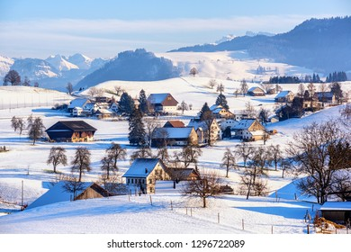 A snow covered typical village in swiss Alps, Switzerland, in winter time