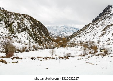 Snow covered valley in the Babia region, Leon, Spain. Biosphere Reserve.
