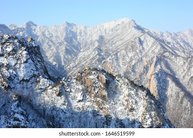 Snow covered view of Gwongeumseong Castle near Sokcho-si, Korea.A castle on top of Seoraksan Mt. During the Silla era, two generals with the names of Gwon and Geum(Kim) built the castle to avoid wars