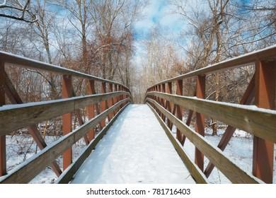 Snow Covered Walking Bridge