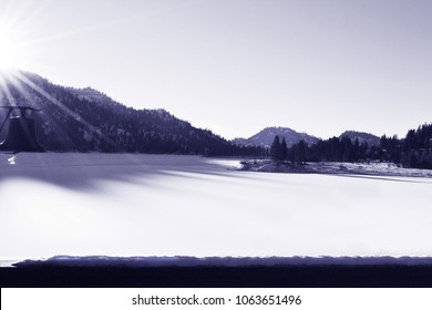 Snow Covered Wannacut Lake in Oroville Washington Black and White Beauty