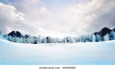 snow covered winter mountain landscape, natural park with forest and mountains covered under snow 3D illustration