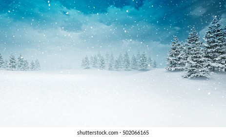 snow covered winter seasonal landscape at snowfall, snowy trees with blue sky background 3D illustration