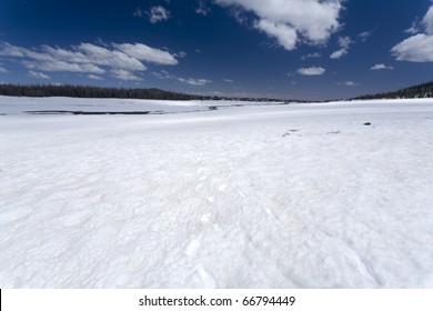 Snow covering a lava field in Utah