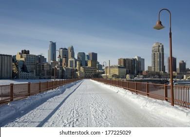 Snow covering the Stone Arch Bridge, Minneapolis, Minnesota, USA