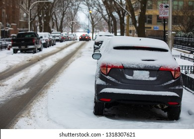 Snow cowered cars. Winter weather in Chicago.