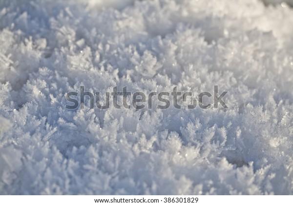 snow crystal surface winter sun