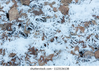 Snow crystals on ground close-up background
