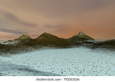Snow in the desert, 3D rendering, a rocky landscape, beautiful peaks and a colorful sky.