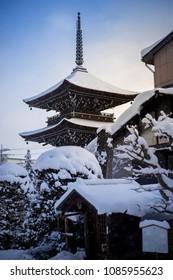 Snow fall at Kokubunji Temple in Takayama, Japan