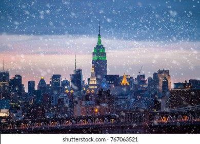 Snow falling down in New York City