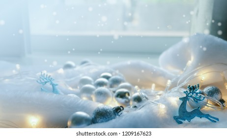 snow falling, light and Christmas decoration for new year and Christmas concept background