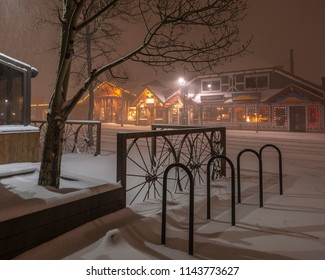 Snow falling on Main Street in Canmore, Canada