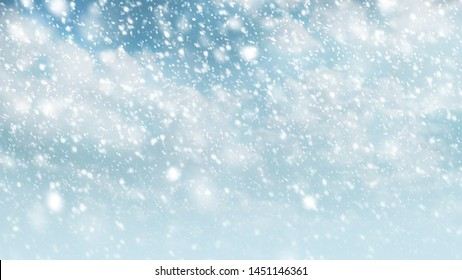 Snow falling on sky with cloud for winter season and christmas background