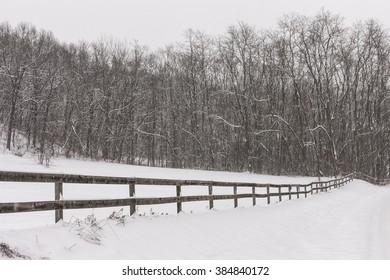Snow falling over wooden fence near a forest