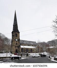 Snow falling Ripponden Church, Calderdale, West Yorkshire, UK