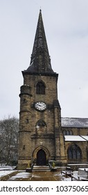 Snow falling Ripponden Church, Calderdale, West Yorkshire, UK
