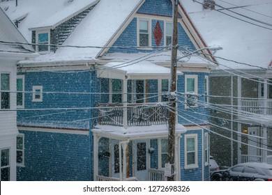 Snow falls heavily in Brighton, Massachusetts