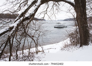 Snow at Fellows Lake and Boathouse in Springfield Missouri