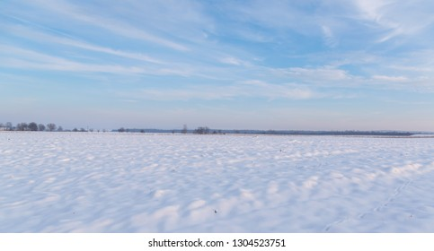 snow field with a blue sky above