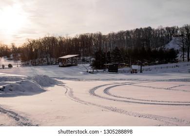 Snow field in winter