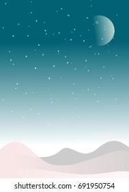 Snow fields on christmas winter night background. Simple illustration.