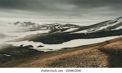 Snow fields on volcanics sands in Iceland