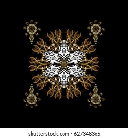 Snow flakes background with doodles and golden elements. Snowflake design in black colors.