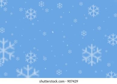 Snow Flakes on a blue sky.