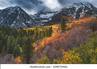 Snow flurries hover over autumn colors on Mount Timpanogos near Sundance in the Wasatch Mountain Range, Utah, United States.