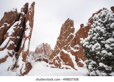 Snow at The Garden of the Gods in Colorado Springs, Colorado