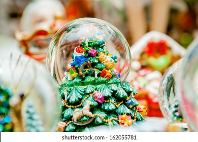 Snow globe with christmas characters