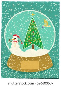 Snow globe with christmas tree, snowman and bird illustration.