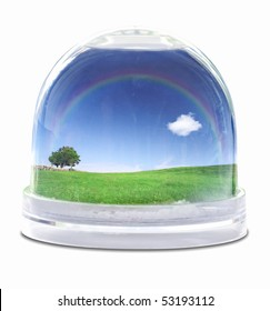 Snow globe with green grass field, blue sky fully white cloud and lone tree
