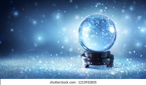 Snow Globe Sparkling In Shiny Background - Magic Christmas